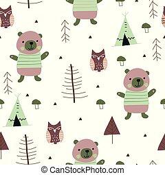 cute, padrão, bosque, seamless, urso, escandinavo, owl.