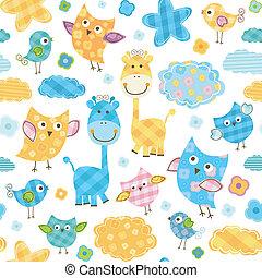 cute, &, padrão, girafas, seamless, pássaros