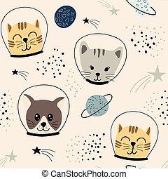 cute, padrão, infantil, seamless, astronauts.vector, gatos, ilustração, tecido