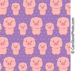 cute, padrão, pai, filho, porcos, caráteres