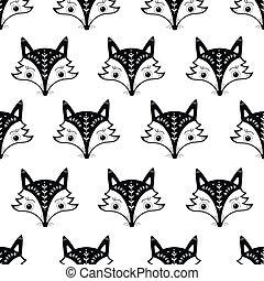 cute, padrão, raposa, seamless, escandinavo, style.