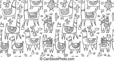 cute, padrão, seamless, desenho, lamas, seu
