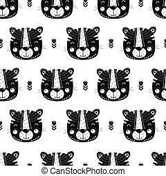 cute, padrão, seamless, escandinavo, tiger, style.