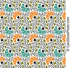 cute, padrão, seamless, fundo, floral, branca