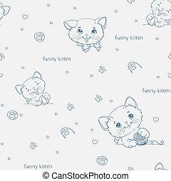 cute, padrão, seamless, gatos, caricatura, catsny
