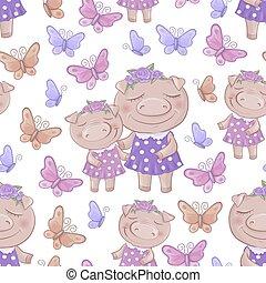 cute, padrão, seamless, ilustração, vetorial, pigs., caricatura