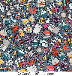 cute, padrão, seamless, mão, ciência, desenhado, caricatura