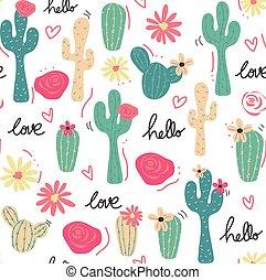 cute, padrão, seamless, mão, tropicais, desenhado, cacto