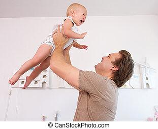 cute, pai, lar, bebê, retrato, tocando, amando