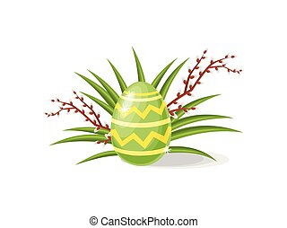 Cute painted egg, green grass and pussy-willow branches. Happy Easter. Flat vector design