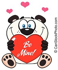 Cute Panda Bear Cartoon Mascot Character Holding A Valentine Love Heart With Text Be Me