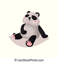 Cute panda bear cub cartoon vector Illustration