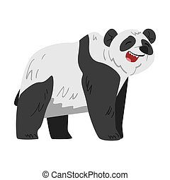 Cute Panda Bear, Funny Wild Animal Cartoon Style Vector Illustration on White Background