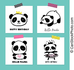 Cute Panda bear illustrations, collection of colorful simple style cards, posters