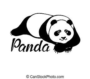 Cute panda bear lying - original hand drawn illustration