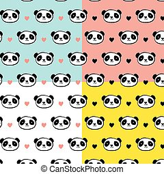 Cute Panda bear seamless patterns