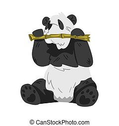 Cute Panda Bear Sitting with Stem of Bamboo, Funny Wild Animal Cartoon Style Vector Illustration on White Background