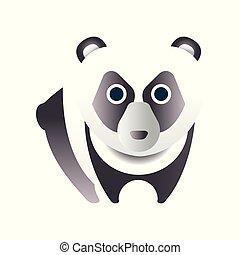 Cute panda bear, stylized geometric animal low poly design vector Illustration