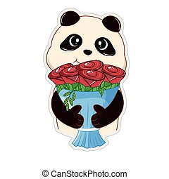 Cute panda bear teddy holding a bouquet of flowers in his hands.