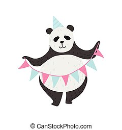 Cute Panda Bear Wearing Party Hat Holding Party Flags, Happy Lovely Animal Character Vector Illustration