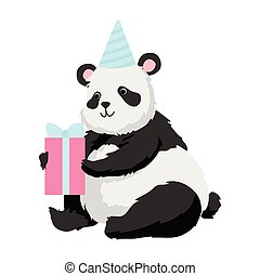 Cute Panda Bear Wearing Party Hat Sitting with Gift Box, Happy Lovely Animal Character Vector Illustration