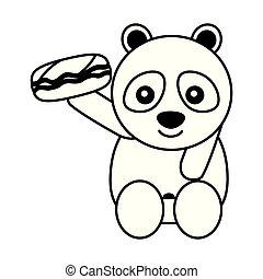 cute panda bear with sweet candy