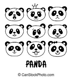 Set of hand drawn panda doodles.