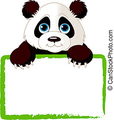 Cute Panda Card - Adorable Panda Looking Over A Blank Sign...