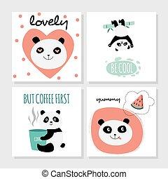 Cute panda card set - isolated cartoon animal with hearts, coffee, food, bamboo