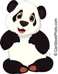 cute, panda, caricatura