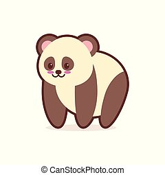 cute panda cartoon comic character with smiling face happy emoji anime kawaii style funny animals for kids concept
