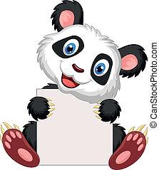 Cute panda cartoon holding blank si