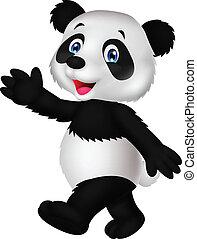 Cute panda cartoon waving hand