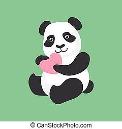 Cute Panda Character Holding A Heart Illustration