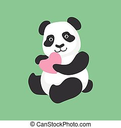 Cute Panda Character Holding A Heart Illustration