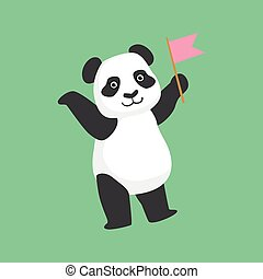 Cute Panda Character With Pink Flag Illustration