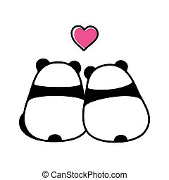Cute panda couple in love