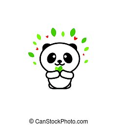 Cute Panda Eats leaves vector illustration, Baby Bear logo, new design line art, Chinese Teddy-bear Black color sign, simple image, picture with animal.