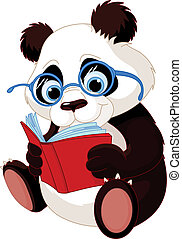Cute Panda Education - Cute Panda with glasses reading a...