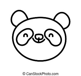 cute panda face cartoon character on white background thick line