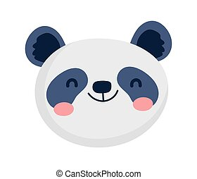 cute panda face cartoon character on white background