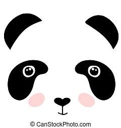 Cute panda face isolated on white background. Flat style