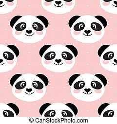 Cute panda face. Seamless cartoon wallpaper