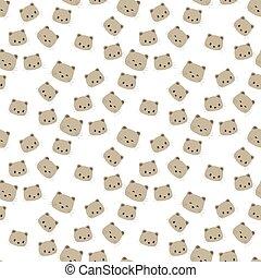 Cute panda face. Seamless wallpaper. Cartoon vector. Flat style