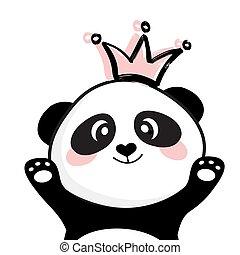 Cute panda face with crown Princess. Smile slogan. Vector illustration for children print design, kids t-shirt, baby wear
