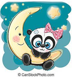Cute Panda girl on the moon