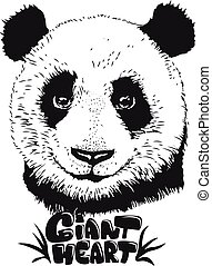 Cute panda illustration, hand drawn bear