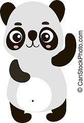 Cute panda, illustration, vector on white background.