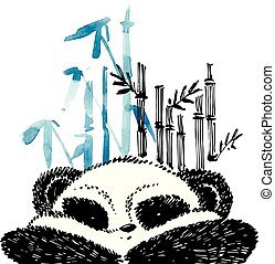 Cute panda in graphic style. Vector hand drawn illustration.