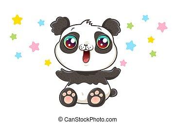 Cute panda in kawaii style